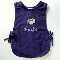 Personalized Kids Smock - Monogrammed Childs Art Apron - Set of Paints Design Personalized Gifts For Kids, Diy Gifts For Him, Kids Gifts, Painting Apron, Kids Apron, Monogram Gifts, Crafty Craft, Baby Crafts, Painting For Kids