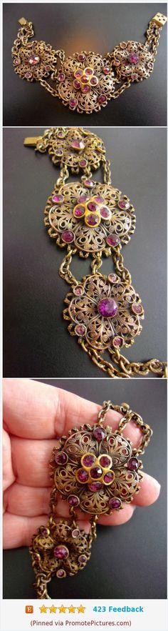 Czech Art Nouveau Deco Amethyst Glass Bracelet, Purple Paste Stones, Brass Filigree, Vintage-Antique #bracelet #artnouveau #czech #brass #antique https://www.etsy.com/RenaissanceFair/listing/571901609/czech-art-nouveau-deco-amethyst-glass?ref=listings_manager_grid  (Pinned using https://PromotePictures.com)