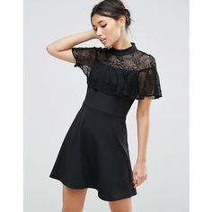 ASOS High Neck Dress with Lace Frill Detail