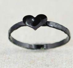 Sterling Silver Black Heart Ring