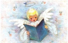 Angel Singing Halo Bluebird Vintage Christmas Card