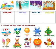 images of seasons of the year Exercise Activities, Vocabulary Activities, Kids Learning Activities, Exercise For Kids, Fun Learning, Seasons Worksheets, Weather Worksheets, Worksheets For Kids, English Grammar For Kids