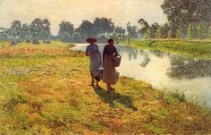 Emile Claus (Belgian 1849–1924), Young Peasant Women at the Leie.