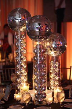 Groove up your party with some disco ball centerpieces to get your guests in the., Groove up your party with some disco ball centerpieces to get your guests in the. Disco Theme Parties, Disco Birthday Party, 70th Birthday Parties, Ball Birthday, 80s Party Themes, Party Party, Birthday Presents, 1970s Party Theme, Craft Party