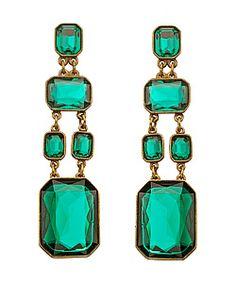 Ben-Amun Green Glass Drop Earrings