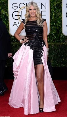 Actress Tiziana Rocca turned heads for all the wrong reasons in this black body con sequin number with a puffy pink train Celebrity Dresses, Celebrity Style, Pink Dress, Dress Up, Royal Look, Famous Stars, Golden Globes, Red Carpet Looks, Celebs