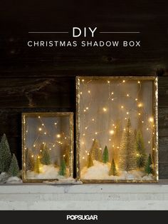 Create an Enchanted Forest With This Shadow Box DIY You don't have to be a crafting queen to whip up charming holiday decorations. This enchanting shadow box DIY reminds us of stargazing on a cold Winter night. Diy Christmas Shadow Box, Noel Christmas, Winter Christmas, All Things Christmas, Christmas Lights, Christmas Trends, Homemade Christmas, Diy Christmas Art, Christmas Candles