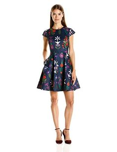 Ted Baker Womens Seesee Fold Sleeve Skater Dress Navy 2 -- Click image for more details.