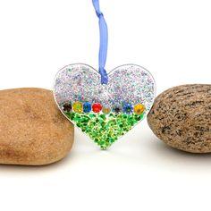 Fused Glass Heart Ornament, Fused Glass Heart Suncatcher by buffaloartglass on Etsy https://www.etsy.com/listing/181164128/fused-glass-heart-ornament-fused-glass
