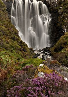 Clashnessie Waterfall in Autumn - Scotland: close to Clashnessie Bay and ? Loch Assynt - Ardvreck Castle ruins