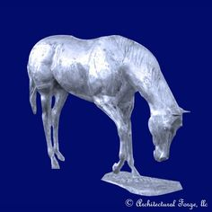 "Horse - Grazing Horse Landscape Sculpture. Animal Sculptures̴Ì_made of cast aluminum that are light weight and are weather resistant year round. Finishing options are endless to customize your piece. We recommend Rust-Oleum® spray products at your local hardware store. Please allow approximately 3-4 weeks for custom orders before shipping.  Dimensions:  Length: 98"" Width: 21"" Height: 60"" Weight: 364 lbs."