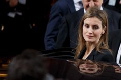 Princess Letizia of Spain leaves the funeral chapel for former Spanish prime minister Adolfo Suarez in the Spanish parliament on March 24, 2014 in Madrid, Spain.
