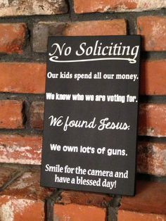 No Soliciting Wood Sign  Smile For The Camera  by PicketFenceSigns, $21.50