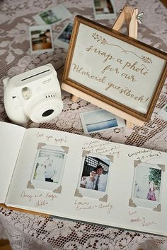 Fuji Film Instax with white lace and white guestbook fits our theme