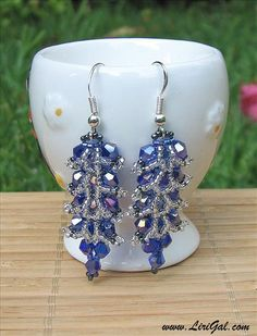 Lush crystal earrings - series of diagrams for process ~ Seed Bead Tutorials