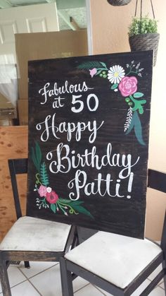 Blackboard Birthday Sign With Pink Flowers