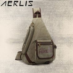 AERLIS Men Splice Canvas Chest Bag Shoulder Bag Retro Multi-pocket Neutral  Package Crossbody Bags 00cade2850ebe