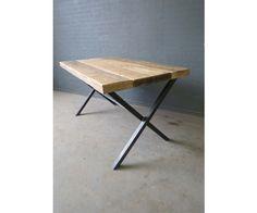 Cross Leg Reclaimed Industrial Dining Table