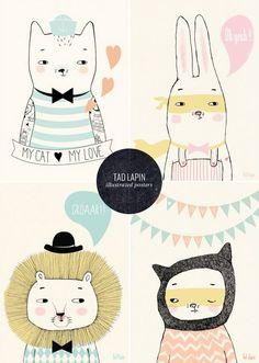 Tad Lapin Illustrated Posters