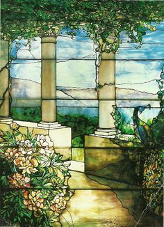 Landscape with Peacock and Peonies window, Louis Comfort Tiffany, 1910 by lncrou7, via Flickr