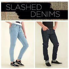 Introducing our new Slashed Denims! Now available monkeegenes.com #monkeegenes #sustainable #style #slashed #denim #ethical #eco #fashion