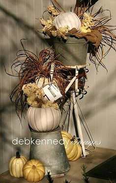 Rustic Fall Display With Buckets, Metal stand, Pumpkins