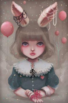 Juliette, Balloons & Pearls, an art print by Ludovic Jacqz Art Et Illustration, Illustrations, Pop Art, Art Amour, Digital Art Gallery, Image Digital, Lowbrow Art, Pop Surrealism, Oeuvre D'art