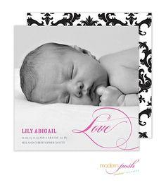 Modern Posh Love Baby Girl Photo Square Birth Announcement