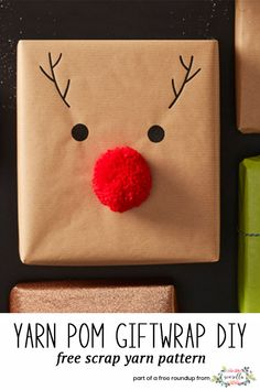 Make yarn pom pom rudolf reindeer giftwrap using your leftover scrap yarn from h. , Make yarn pom pom rudolf reindeer giftwrap using your leftover scrap yarn from holiday crocheting from my christmas crafts to use up extra yarn roundu. Christmas Gift Wrapping, Diy Christmas Gifts, Holiday Fun, Christmas Crafts, Christmas Decorations, Christmas Lights, Diy Christmas Reindeer, Birthday Gift Wrapping, Christmas Design