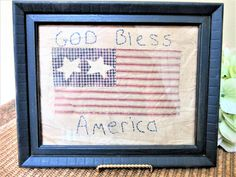 Flag Framed Handmade Patriotic American Red White Blue Stitched Independence Day Vintage blm by PorcelainChinaArt on Etsy