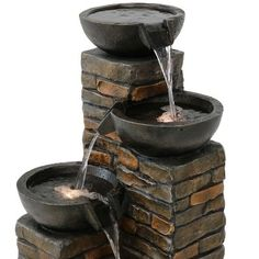 34 Staggered Bowls Tiered Outdoor Water Fountain with Led Lights - Sunnydaze Decor, Brown Small Fountains, Garden Fountains, Water Fountains, Landscaping Supplies, Pool Landscaping, Large Water Features, Pottery Place, Waterfall Features, Backyard Water Feature
