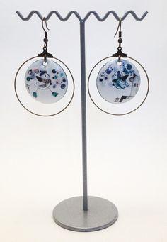 Boucles d'oreille en émail et laiton - Amandine Barry - Créatrice d'émotions
