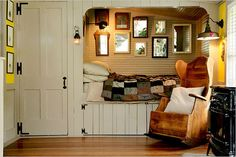 Alcove beds are a fabulous concept for saving space in your home design. They are inviting and fun and creates a very intimate space to curl up and enjoy! Credit: http://prettyspace.tumblr.com/