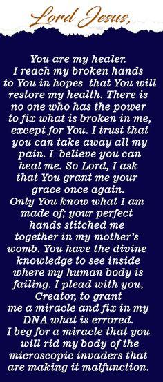 Powerful Healing Miracle Prayers For A Sick Child Healing Heart Quotes, Prayers For Healing, Bible Prayers, Catholic Prayers, Powerful Prayers, Healing Scriptures, Jesus Prayer, Prayer Verses, Faith Prayer