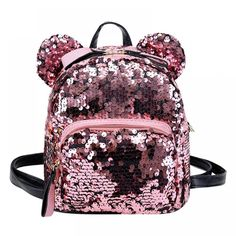 Hot Offer Shining Women Sequins Backpacks Teenage Girls Travel Large Capacity Bags Portable Party Mini School Bags Shoulder Bag for Lady Cute Mini Backpacks, Big Backpacks, Casual Backpacks, Leather Backpacks, Mini Mochila, Fashion Bags, Fashion Backpack, Sequin Backpack, Bear Ears