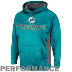 Miami Dolphins Gridiron V Pullover Performance Hoodie - Aqua Size XL
