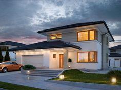 Projekt Karat 2. Karat 2, to projekt nowoczesnego domu piętrowego przeznaczonego dla 4-osobowej rodziny. Je...