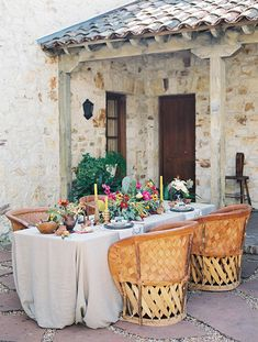 Elegant Hacienda Courtyard Wedding Reception | Jessica Burke Photography | Colorful California Mission Wedding Style