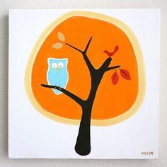 Re-pin this pin to be entered to win this unique, hand-painted art! As seen on The Today Show!     Two winners will be chosen at random on 01/27/12.        Modern Owls in Fall Hand-Painted Canvas from @PoshTots
