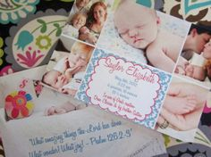 Two sided Multiple Picture Birth by PaisleyPearInvites on Etsy, $1.80