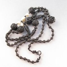 victorian mourning jewelry | VICTORIAN VULCANITE NECKLACE. mourning jewelry. mourning necklace ...