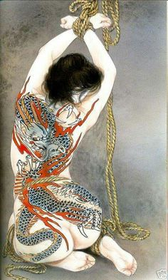 The artist Ozuma Kaname, born in Niigata in was trained in classical Japanese painting by Soushi. His images are inspired on traditional subjects. Art Kawaii, Serpieri, Rope Art, Japanese Illustration, Japanese Painting, Japanese Artwork, Irezumi, Japanese Prints, Japan Art
