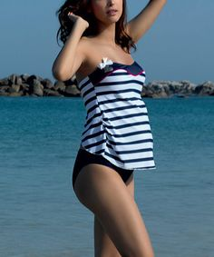 Take a look at this Navy Marina Maternity Strapless Tankini by Cache Coeur on #zulily today!