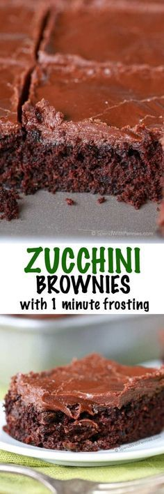 Easy Zucchini Brownies with 1 minute Frosting! These are quick to make... and the zucchini keeps them so moist and amazing! The frosting.. ridiculously yummy and ready in just one minute!