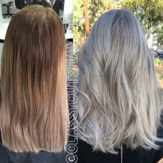 To update your #blondebalayage for fall and winter, consider this pearl blonde over sunnier highlights. A shade more natural than the full granny hair trend, this icy color is perfect for cool skin tones with a subtle pink pastel shimmer that gives hair a lavish look. Image: @classycutshampton