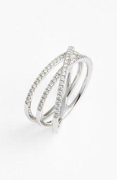 Bony Levy Crossover Three-Row Diamond Ring (Nordstrom Exclusive)