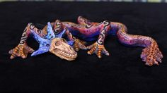 Blue Frill, Dragon Skull Day of the Dead Mexican Folk Art Hand Made Jose Aguilar