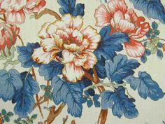 Lee Jofa Linen Chinese Peony Blue Curtain & Upholstery Fabric