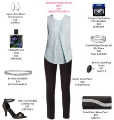 Professional attire never looked so good.  @bloomingdales @macys @jcpenney #pleatedblouse #clutch #sandalheels
