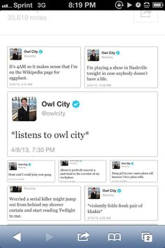 The Owl City Twitter Page.
